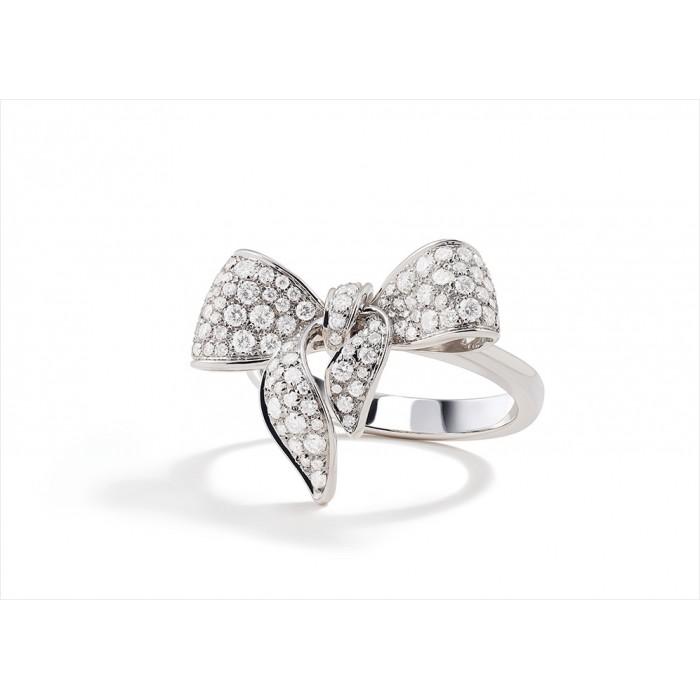 Anello Damiani Fiocco in oro bianco e diamanti