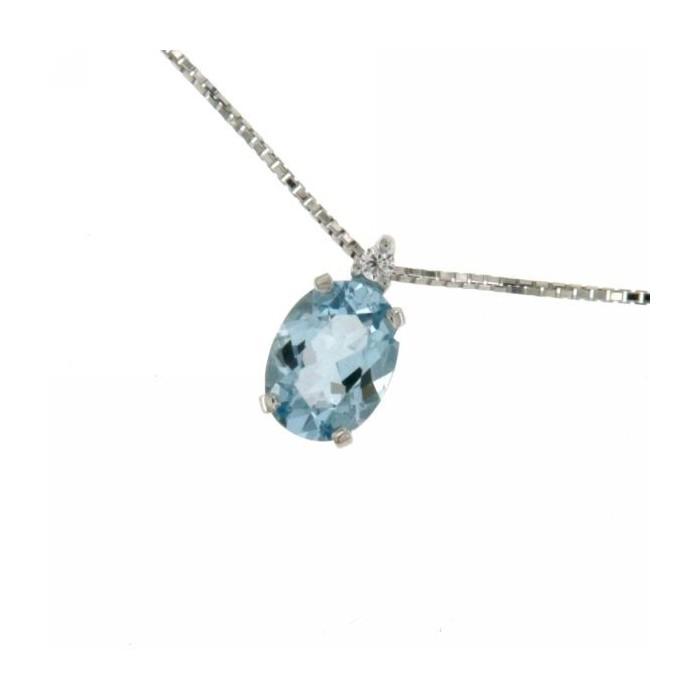 Collana in oro bianco con acquamarina e diamanti