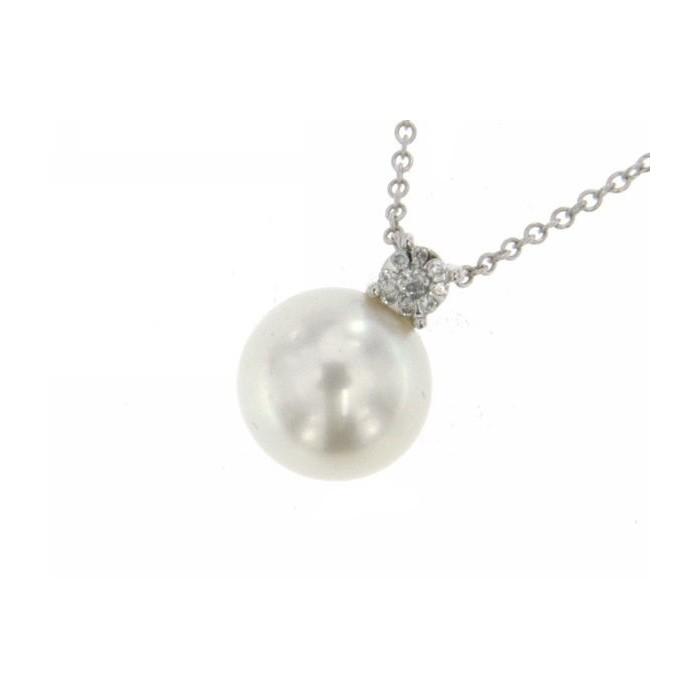Collana in oro bianco con perla e diamanti