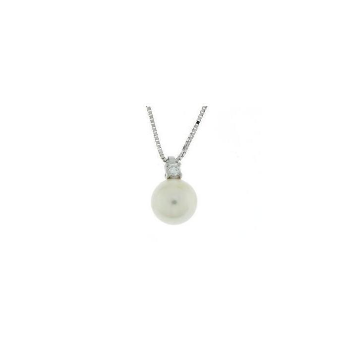 Collana in oro bianco con perla e diamante