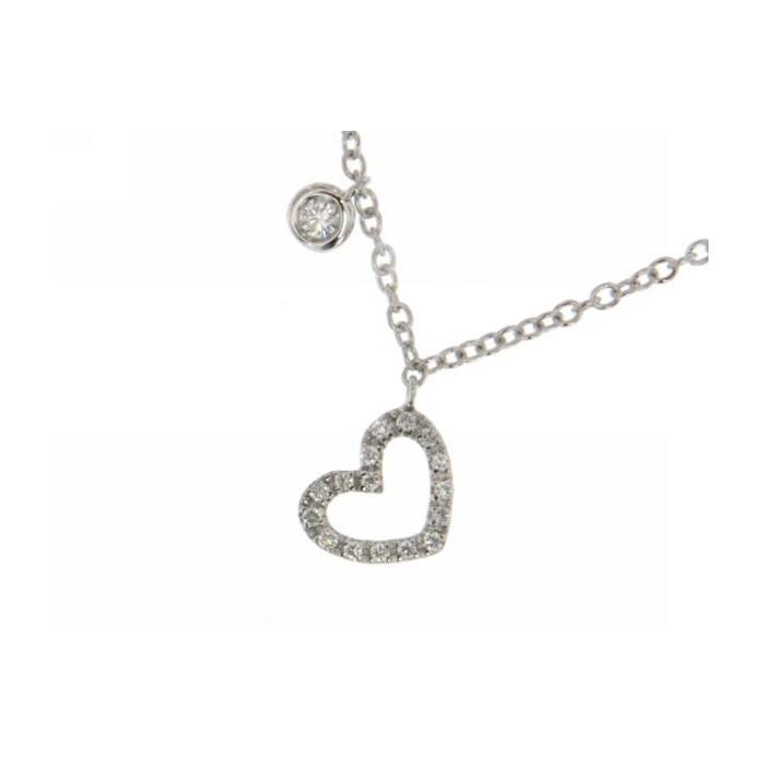 Collana cuoricino in oro bianco con diamanti