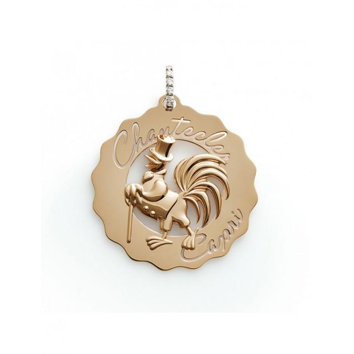 Ciondolo Logo Gallo dandy in oro rosa e biglierina in diamanti