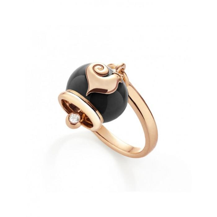 Anello campanella micro in oro, smalto nero e un diamante