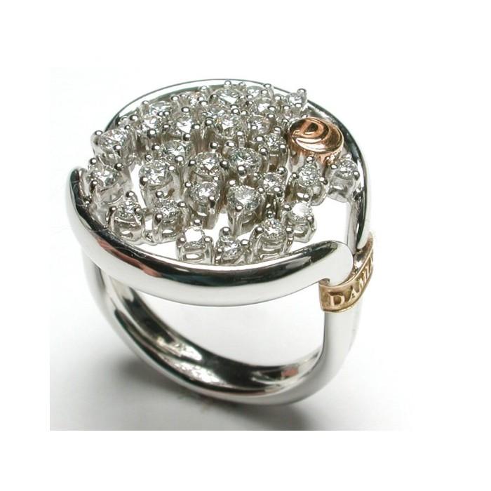 Anello Damiani Bagliori in oro rosa e bianco con diamanti