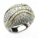 Anello fiore in oro bianco con rubino e diamanti