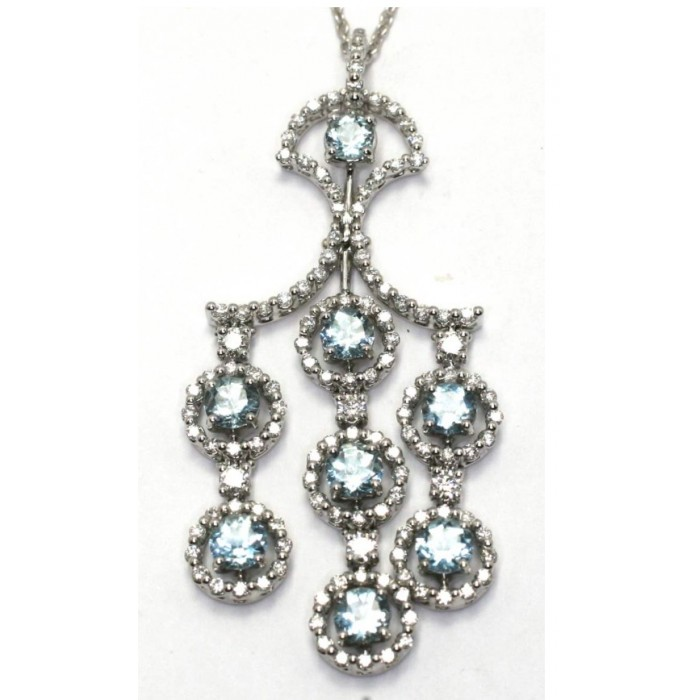 Collana Juliette in oro bianco, diamanti e acquamarine