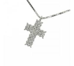 Collana croce in oro bianco con diamanti