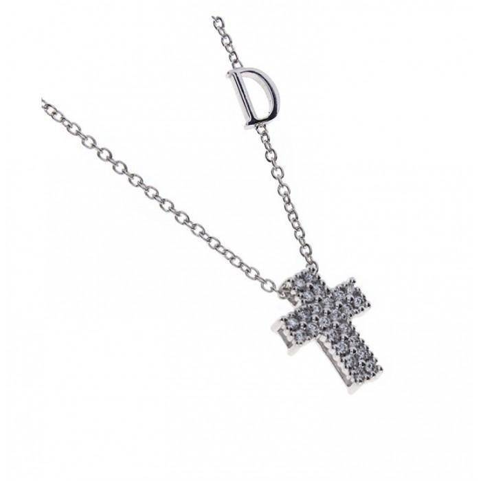 Collier Damiani Croce in oro bianco e diamanti