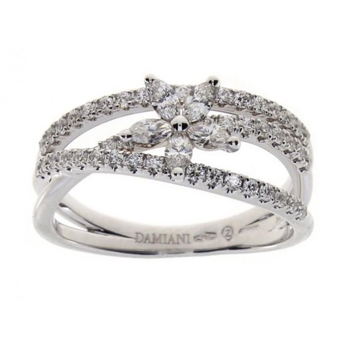 Anello Damiani Intreccio in oro bianco e diamanti