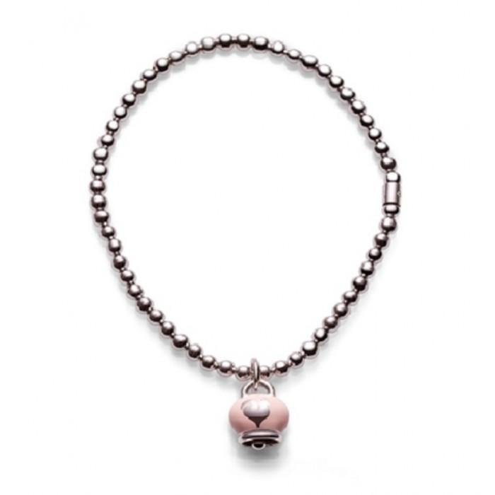 Bracciale in argento con ciondolo campanella micro in argento con smalto rosa