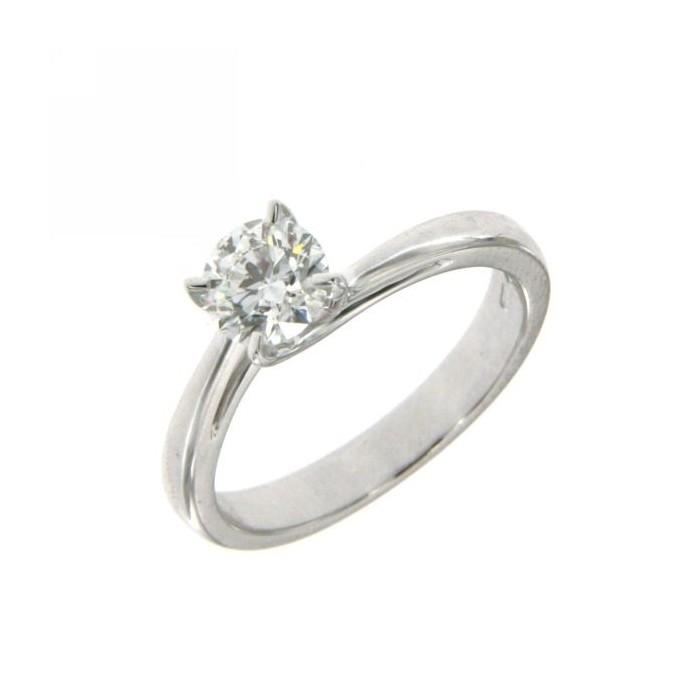"""Anello solitario modello """"valentino"""" in oro bianco con diamante"""
