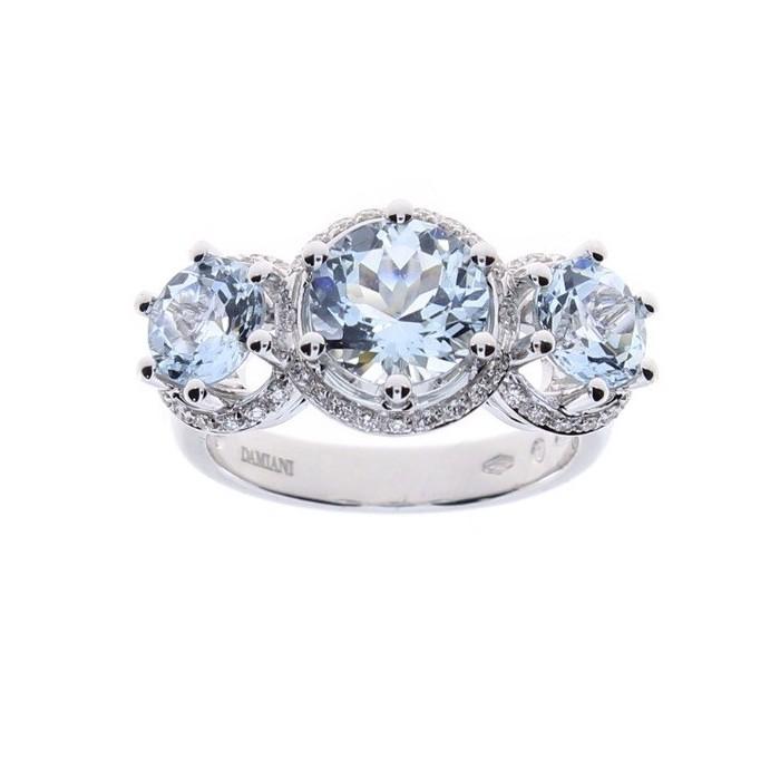 Anello Damiani Minou in oro bianco, diamanti e 3 acquamarine