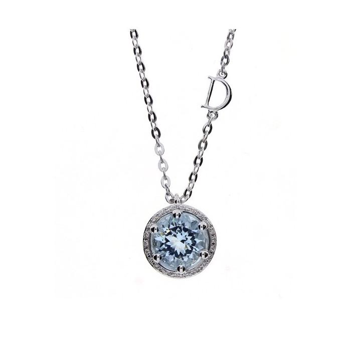 Collier Damiani Minou in oro bianco, diamanti e acquamarina