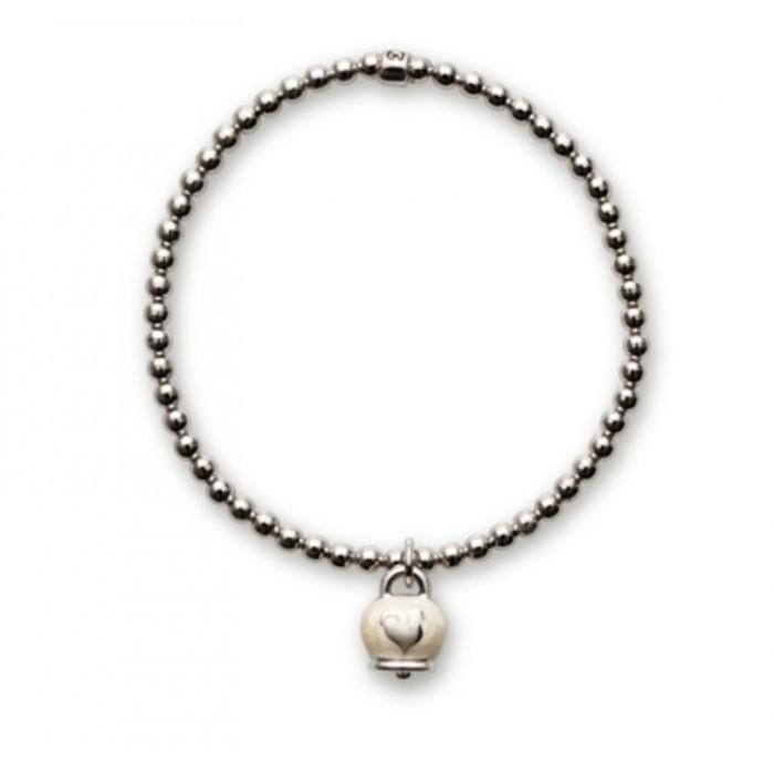 Bracciale in argento con ciondolo campanella micro in argento con smalto bianco