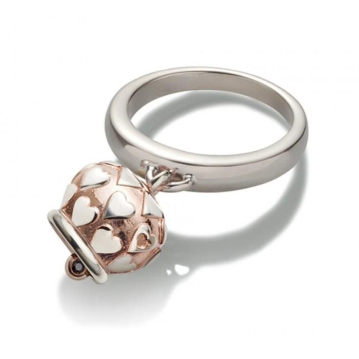Anello campanella con cuori piccola in argento rodiata rosa