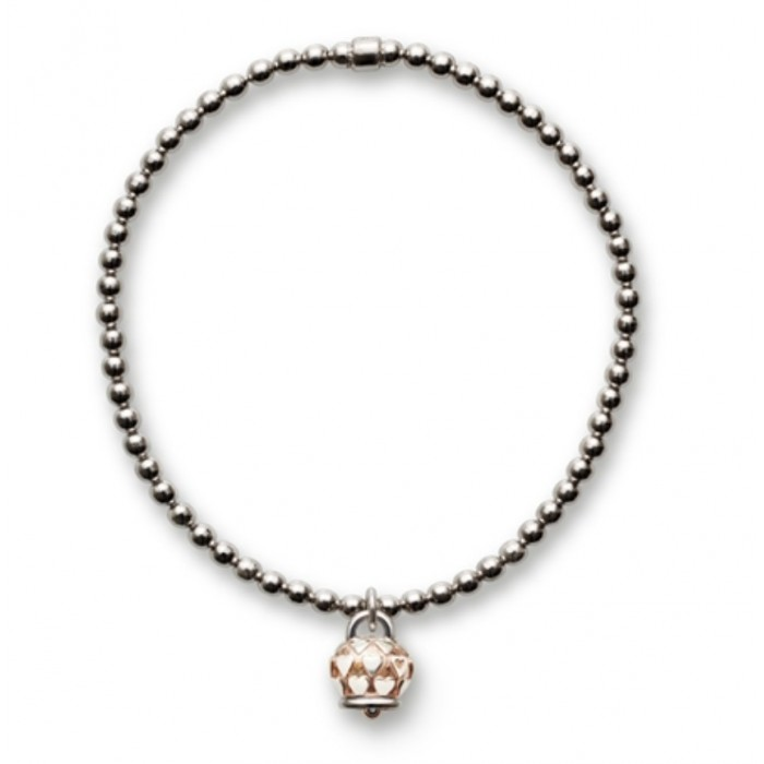 Bracciale in argento con ciondolo campanella micro in argento con cuori e rodiatura rosa