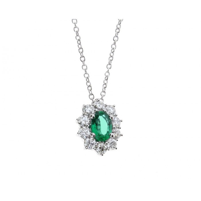 Collana Damiani con smeraldo e diamanti