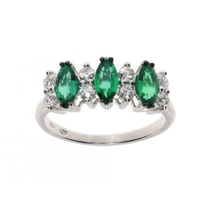 Anello Damiani in oro bianco con diamanti e smeraldi