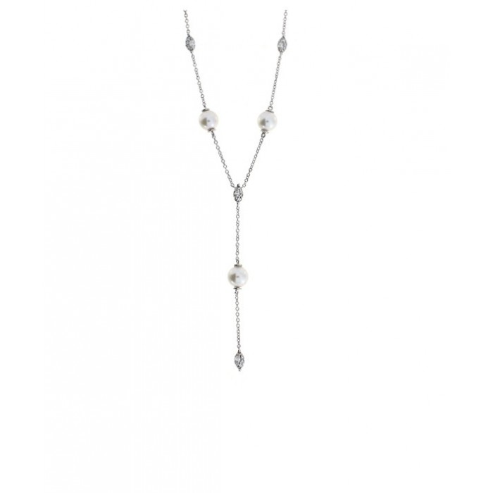 Collier Damiani Emozioni in oro bianco con perle e diamanti
