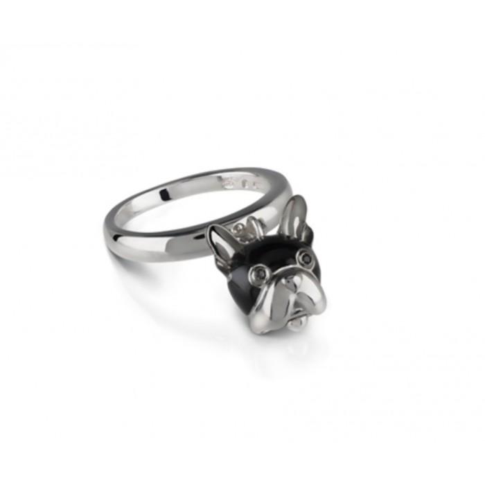 Anello campanella cane in argento, smalto nero e spinello nero