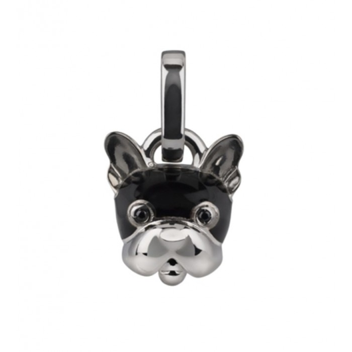 Ciondolo cane micro in argento, smalto nero e spinello nero
