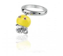 Anello polipo micro in argento, smalto giallo e zaffiri arancio