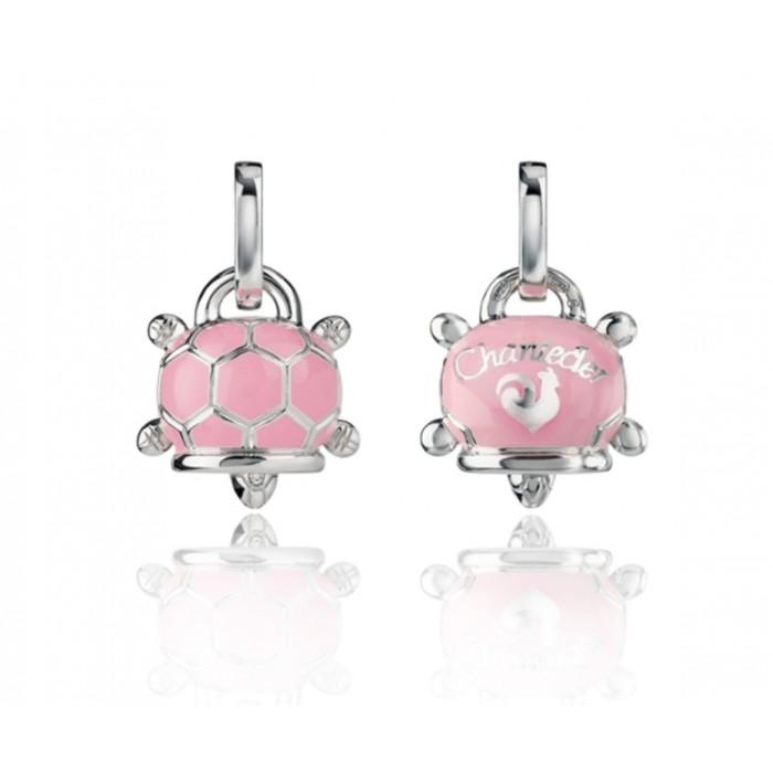 Ciondolo tartaruga piccolo in argento, smalto rosa e diamante bianco