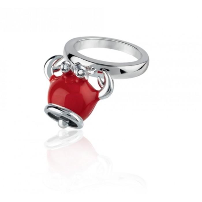 Anello granchio micro in argento, smalto rosso e diamanti neri