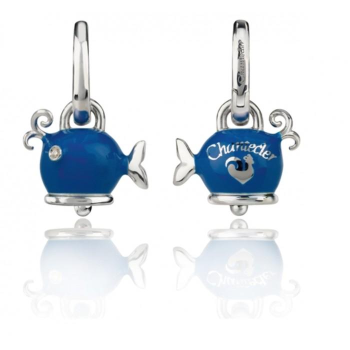 Orecchini balena micro in argento, smalto  blu e diamanti bianchi