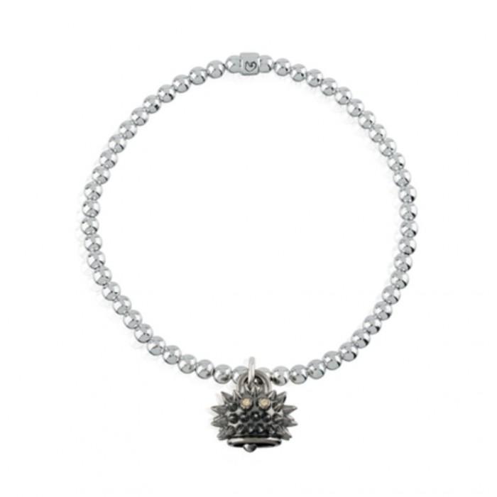 Bracciale elastico con ciondolo riccio micro in argento brunito e diamanti brown