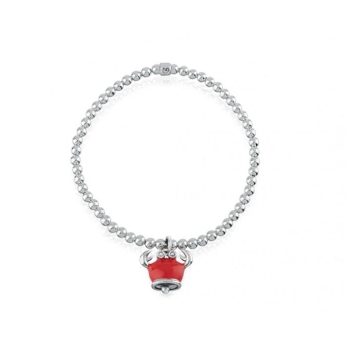 Bracciale elastico con ciondolo granchio micro in argento, smalto rosso e diamanti neri