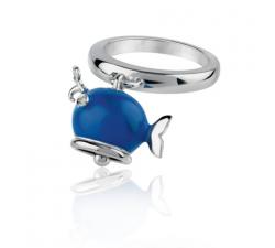 Anello balena micro in argento, smalto blu e diamante bianco
