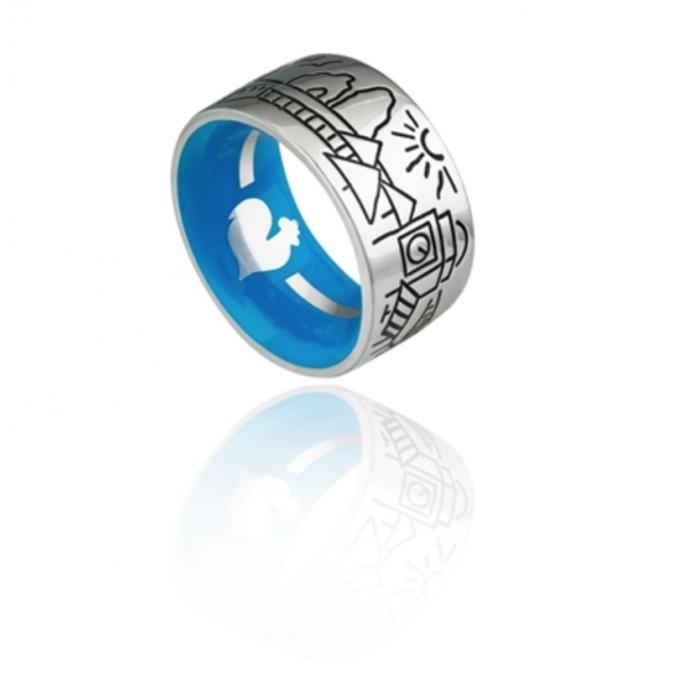 Anello Fascia Logo In Argento, Skyline Capri, Smalto Blu Interno