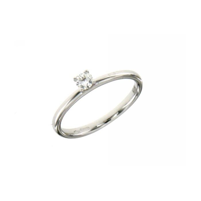 Anello solitario 4 punte in oro bianco con diamante