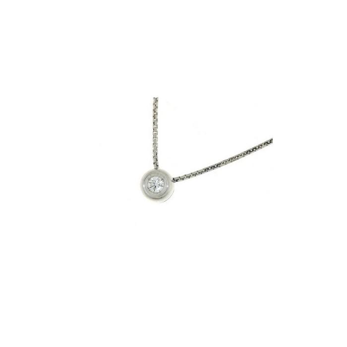nuovo prodotto 7d50e 63034 Collana punto luce castone rotondo in oro bianco con diamante