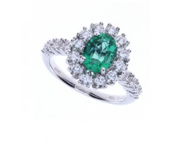 Anello Damiani in oro bianco, diamanti e smeraldo