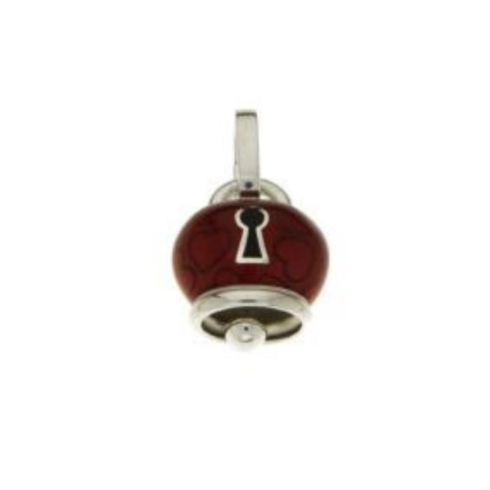 Ciondolo Campanella Et Violà media in argento e smalto rosso con cuori e lucchetto