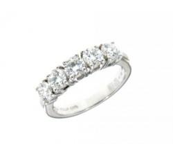 Anello rivière in oro bianco con diamanti