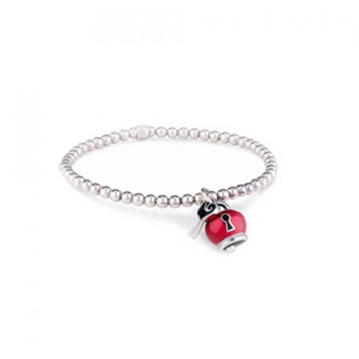 Bracciale elastico in argento con ciondolo campanella Et Voilà micro in smalto rosso, lucchetto e chiavetta con galletto