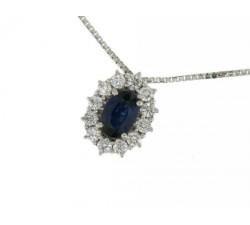 Collier in oro bianco con zaffiro e diamanti