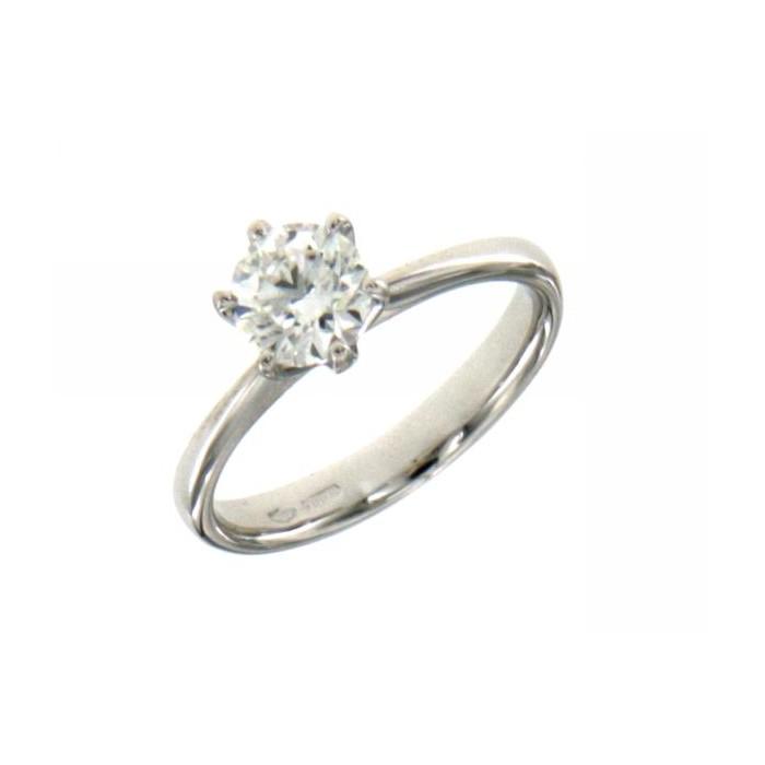 Anello solitario 6 punte in oro bianco con diamante