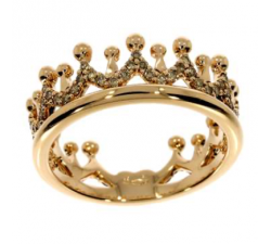 Anello Corona oro rosa e diamanti brown