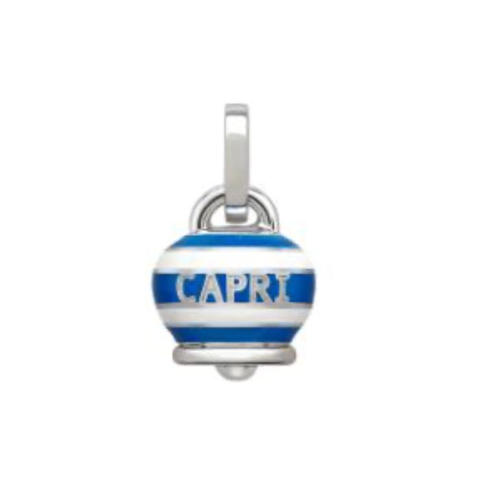 Ciondolo Campanella media CAPRINESS in argento e smalto bianco e blu
