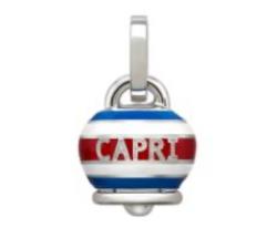 Ciondolo Campanella media CAPRINESS in argento e smalto bianco, blu e rosso