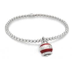 Bracciale campanella micro DOLCE VITA Capriness in argento e smalto bianco e rosso
