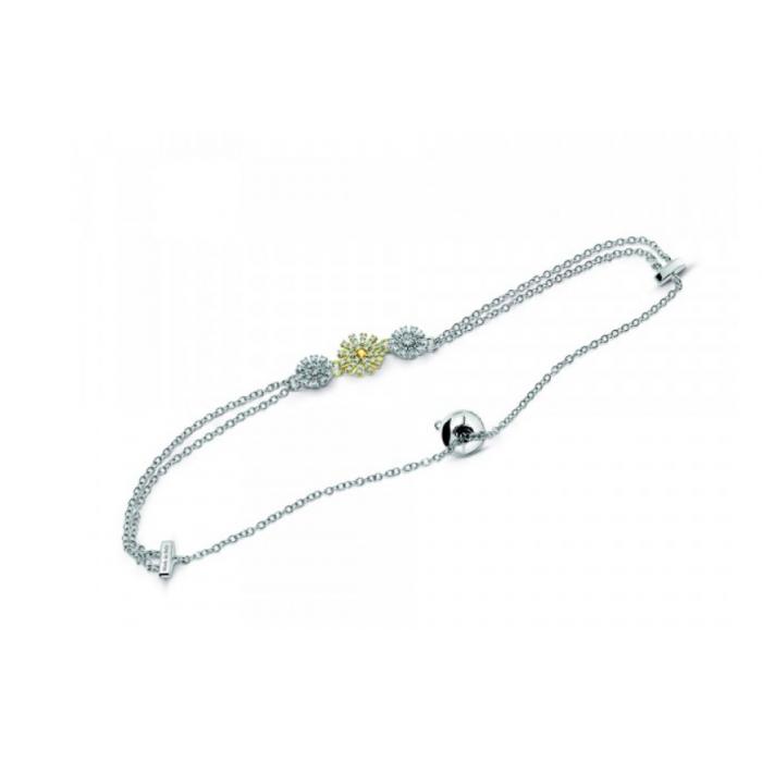 Bracciale Damiani Margherita in oro bianco e giallo con diamanti e citrino