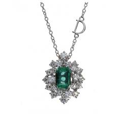 Collier Damiani Mimosa con Smeraldo e Diamanti