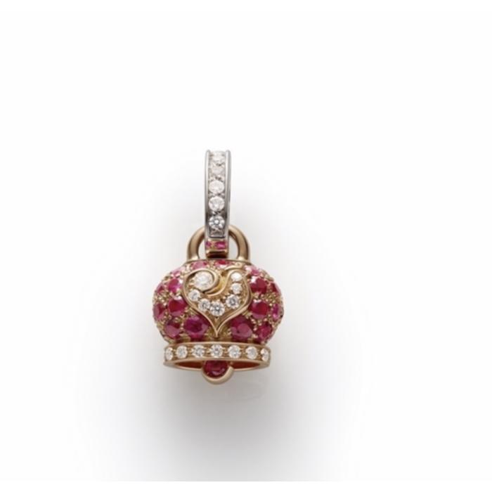 Ciondolo campanella piccola in oro rosa e rubini, galletto in oro bianco e diamanti bianchi