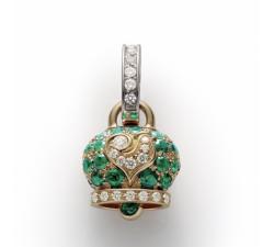 Ciondolo campanella piccola in oro giallo e smeraldi, galletto in oro bianco e diamanti bianchi