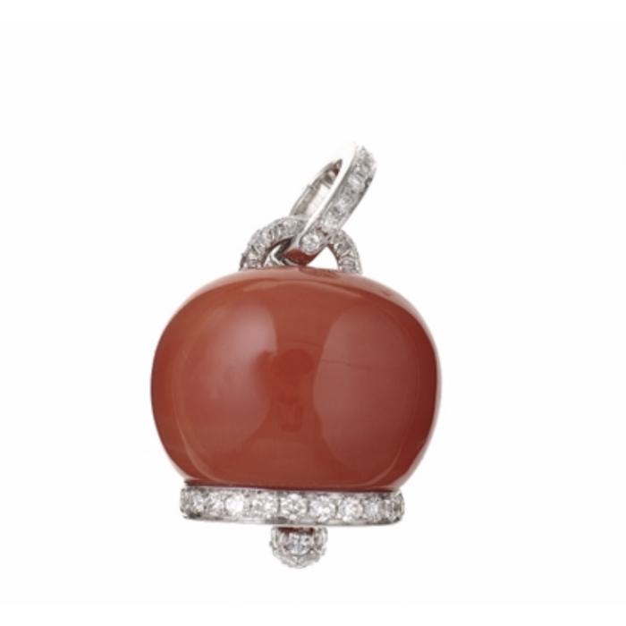 Ciondolo grande in oro bianco, diamanti e corallo rosso